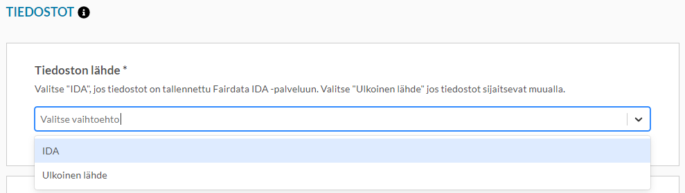 Kuvankaappaus Qvaimen lomakkeen tiedostovalinnan pudotusvalikosta.