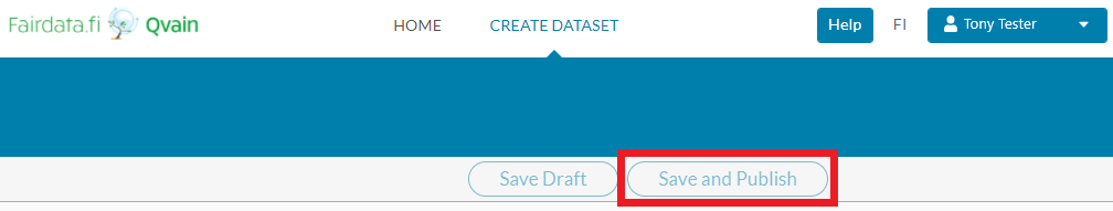 "Screenshot of Qvain's ""Create new dataset"" form's ""Save and Publish"" button."