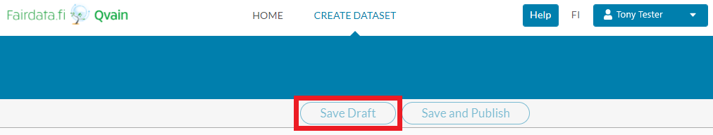 "Screenshot of Qvain's ""Create new dataset"" form's ""Save Draft"" button."