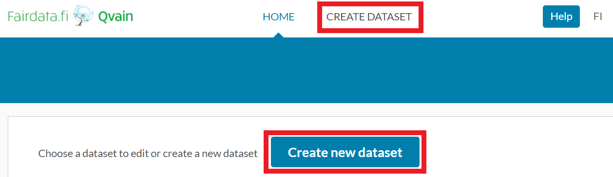 "Screenshot of the ""Create new dataset"" button in Qvain's front page."