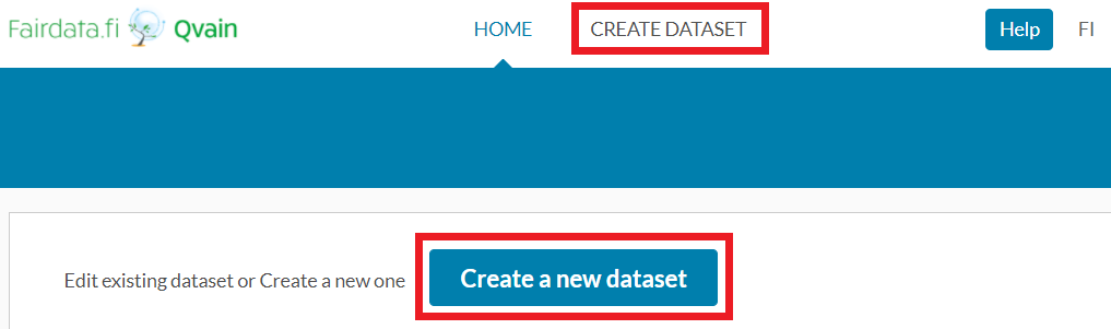 """A screencapture of the user interface. """"Create dataset"""" and """"Create a new dataset"""" buttons are marked with red."""
