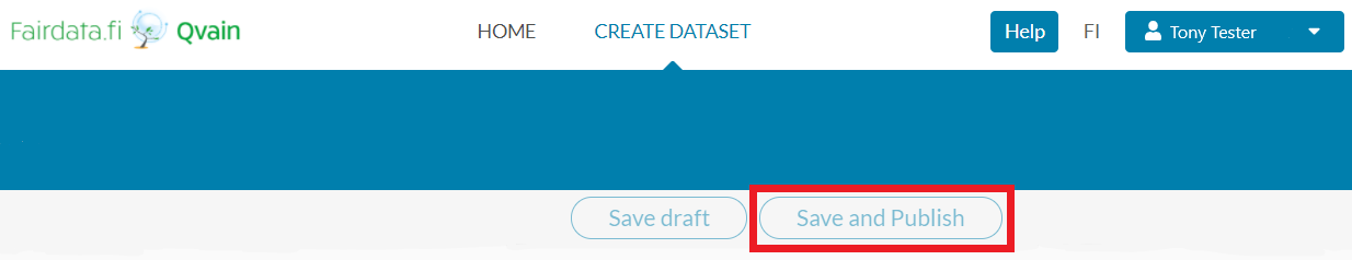 """A screen capture of the user interface. """"Save and publish"""" button is marked with red."""